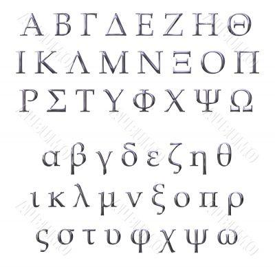 3D Silver Greek Alphabet