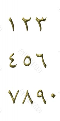 3D Golden Arabic Numbers