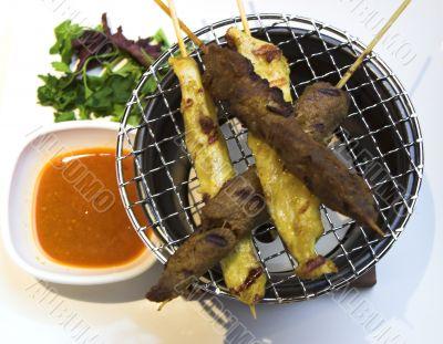 Beef & Chicken Satay with Peanut Sauce