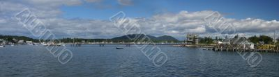 Panorama - Lobster traps on wharf,