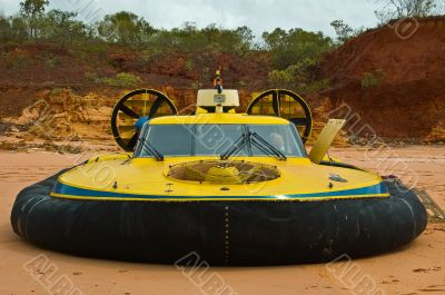 Hovercraft parked on beach