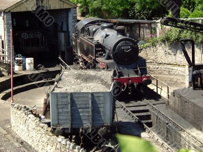 steam railway turntable and shed