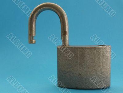 close-up of padlock in unlocked position