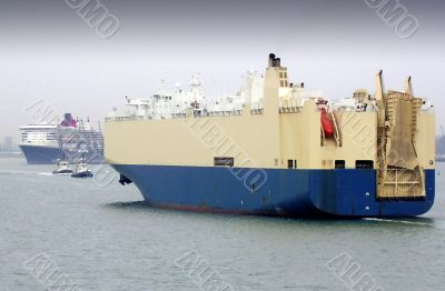 cargo ship coming into docks