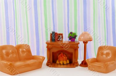 fireplace, furniture, sofa, lamp, armchair