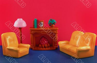toy fireplace, sofa, lamp, armchair