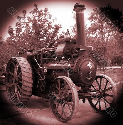 sepia steam traction engine
