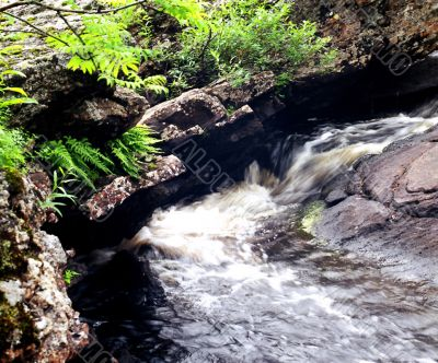 The fast small river among rocks.