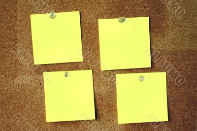 close-up of four blank paper sheets