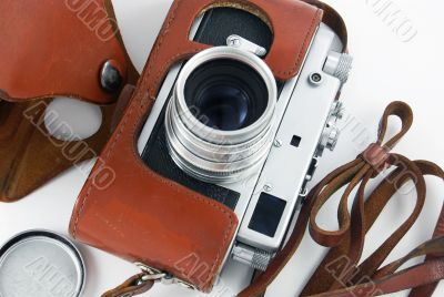 old photo camera in cover