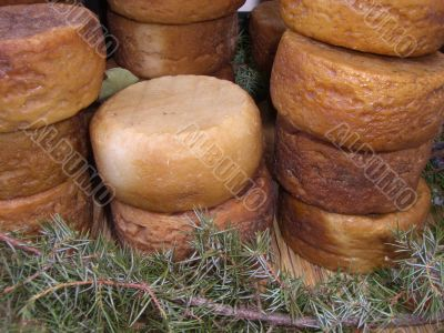 Seasoned Cheese forms in several stacks