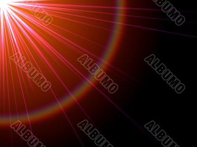 orange rays from corner and copyspace