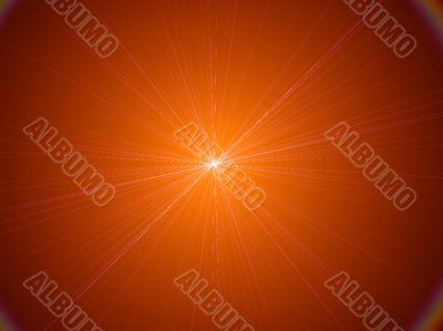 radiating pinpoint of orange light