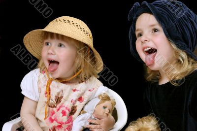 two happy funy little girls
