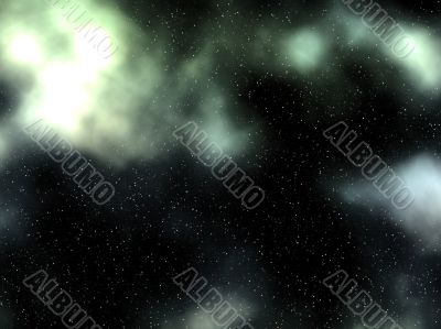 glowing green gas nebula