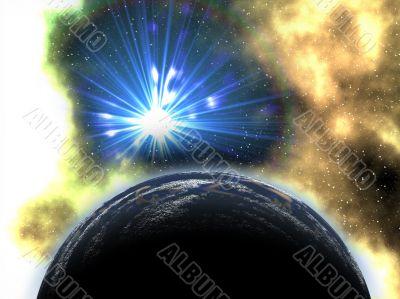 sun bursting through nebula to earth