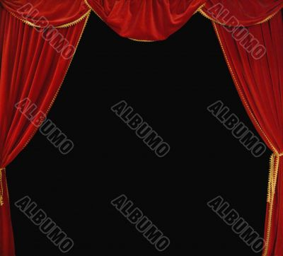 Red  Theater Curtain Background on Black