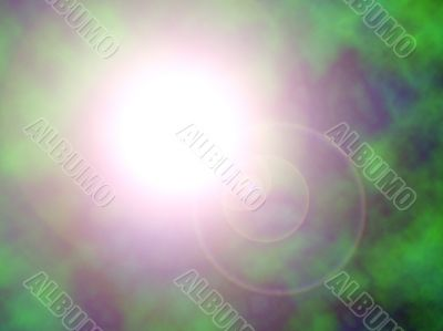 sun through plasma with lens flare