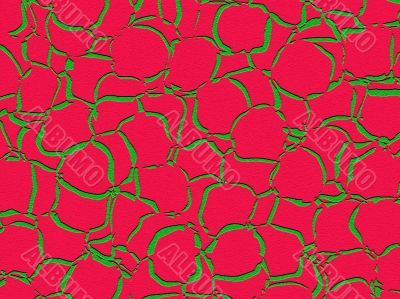embossed green red shapes