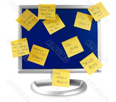 flatscreen monitor with notes written on it