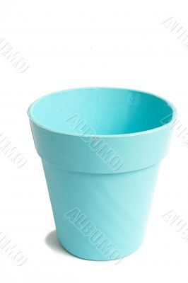 cyan plant pot over white