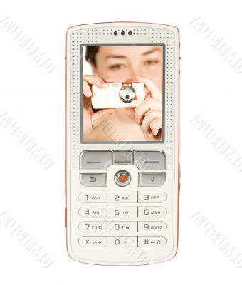 girl taking photo on mobile phone screen