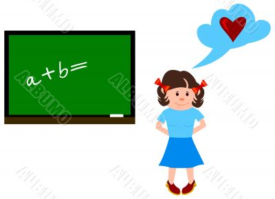 The girl at a lesson of mathematics.