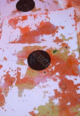 Multicolored blots and stains on shoting target