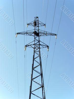 electric column on blue sky