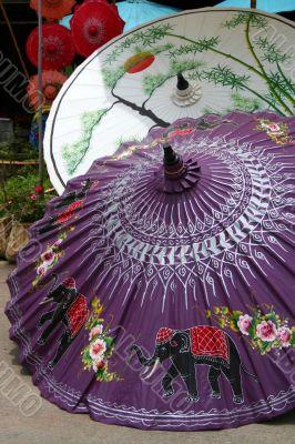 Painted umbrellas in a handicraft village
