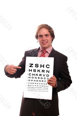business man with eye test chart