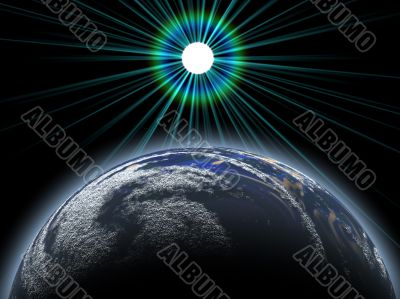 rising moon above an earthlike planet
