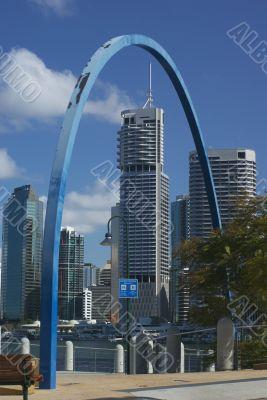 Brisbane Riverside and CBD framed by `The Tidal Indicator`