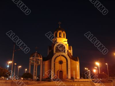 Evening illumination of church
