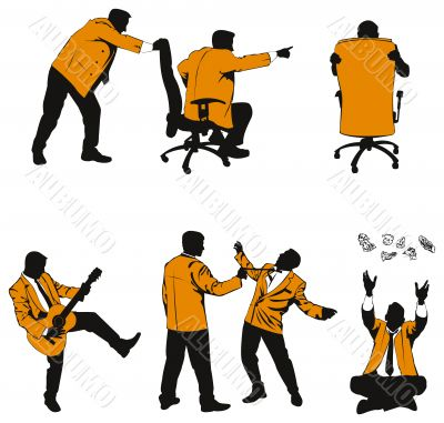 Vector humorous silhouettes of business people