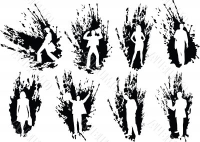Silhouettes business people in splats