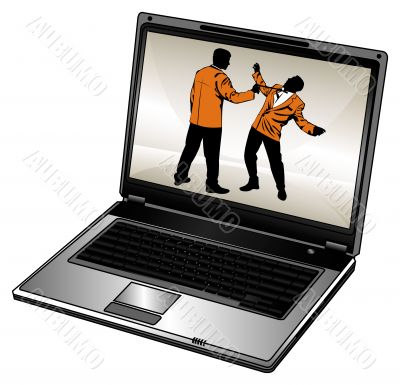 Silhouette of businessman and laptop