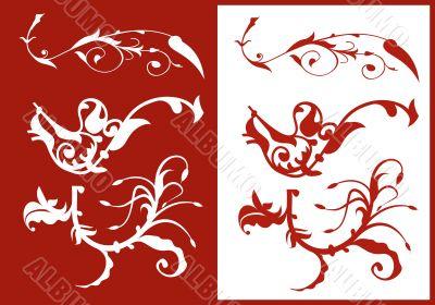 Vector floral ornamental elements
