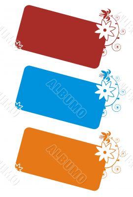 Three colorful banner with floral ornaments