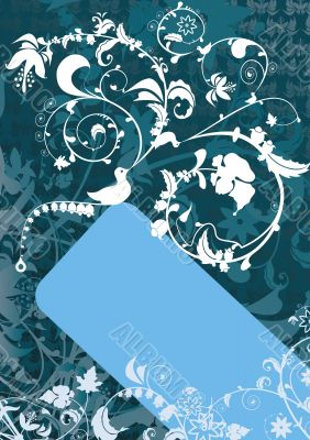 Blue banner with bird and floral ornaments