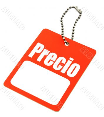 price tag with the Spanish `price` word
