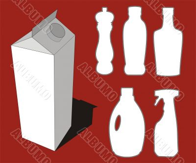 Bottles silhouettes and milk box graphic