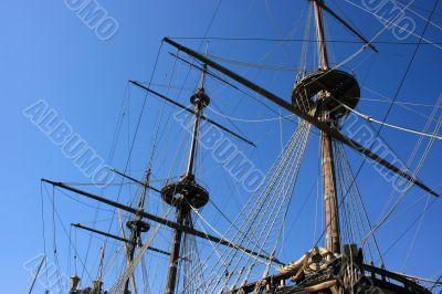 Masts of ancient battleship