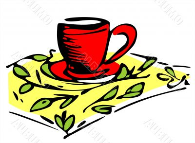 Cup on a yellow napkin
