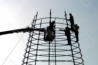 Working people on height