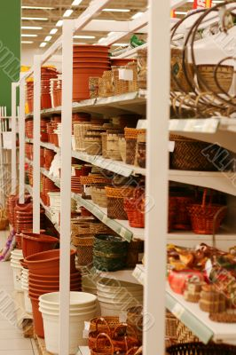 ceramic bowls and garden things in supermarket