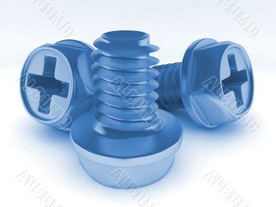 Blue metallic bolts