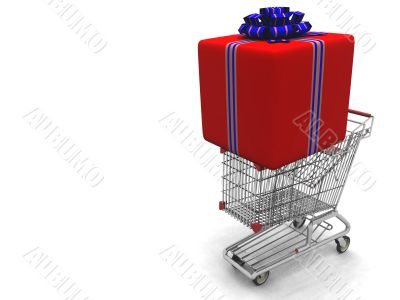 light cart with a large gift