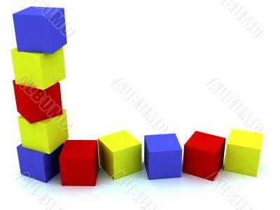 varicoloured child`s blocks