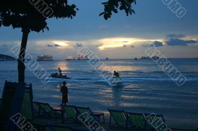 Jetski Fun at Dusk on Pattaya Beach